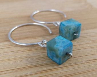Blue Gemstone Geometric Earrings. Sterling Silver Open Hoop Earrings. Jasper Gemstones. Square Cube Gemstone. Southwestern. Teal Earrings.