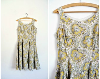 Vintage 50's Summer Midi Day Dress Paisley Print Cotton  / French Vintage 1950s Dress/ Slip Dress / Small