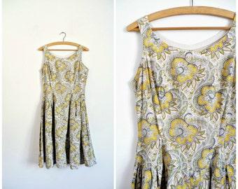 Vintage Années 50 Robe d'Eté Mi-Longue En Coton Imprimé Cachemire / Taille S