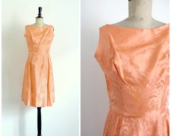 Vintage 50's Cocktail Dress SUZY PERETTE Apricot Brocade / Extra Small to Small