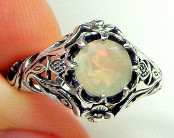 Sz 7,Welo Opal Ring,Sterling Silver Ring,Ethiopian,Semi-transparent,Pastel Color Play,Peach,Yellow,Green Color Play, Ornate Ring OOAK