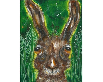 Original painting whimsical hare mixed media art painting on cradled wood panel 8x6 inches - The Hare from echoing woods