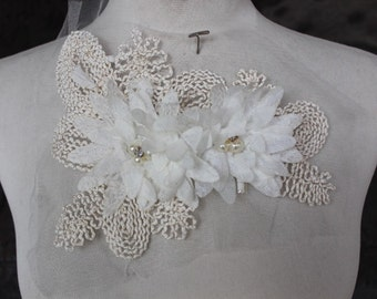 Cute embroidered  and beaded flower applique white color