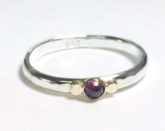 Garnet red Gemestone Engagement Ring - 14k gold ring ,silver ring ,Anniversary ring,Gift for her,  MADE TO ORDER