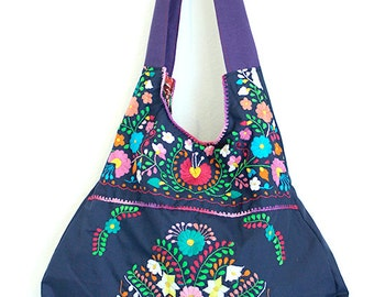 Mexican Embroidered Handbag Merida Hobo in Navy