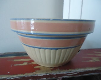 Antique Yellow Ware Mixing Bowl Soft Pink and Blue Stripe Ribbed Bottom