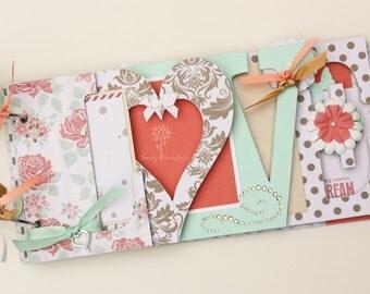 Love scrapbook, Wedding album, wedding gift, wedding guestbook, Valentine's day gift, premade scrapbook, chipboard album -LV8