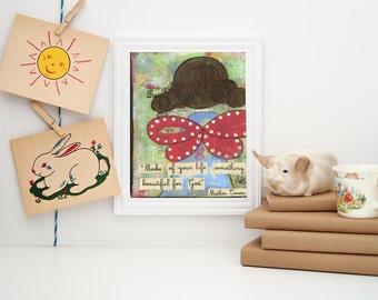 art print, Church art, Kid's room art quote art mother teresa angel art