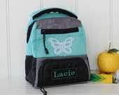 Lunchbox With Monogram Upcycled Pottery Barn -- Aqua Colton With Butterfly Patch
