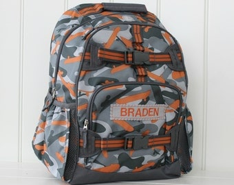 Small Backpack With Monogram (Small Size) Pottery Barn -- Gray/Orange Camo
