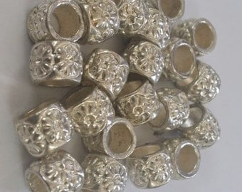 5 Floral Spacer Large 5 mm Hole  Beads fit European Jewelry - Only 4 available 59