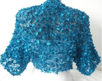 Knit blue turquoise Bolero Wedding Bolero, Wedding Shrug Sleeves Wrap, Weddings Bridal Bridesmaid