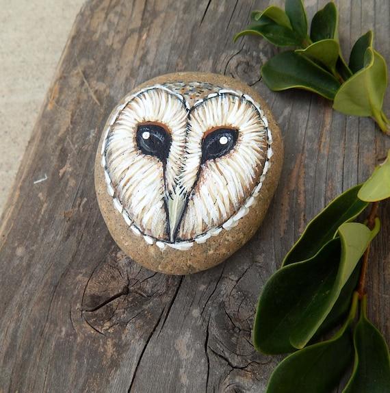 Owl Totem Hand Painted Stones BARN OWLS Rock Art Animals