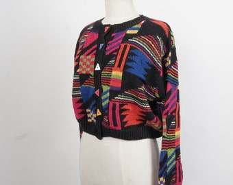 colorful cropped cotton cardigan black red blue Anchor Blue 80s vintage button up Cosby sweater small medium