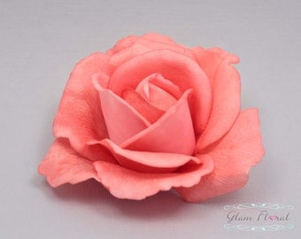 Coral Rose Hair Clip. Real Touch Flowers. Caroline Rose Collection. orange hair clip, head piece, fascinator, hairclip