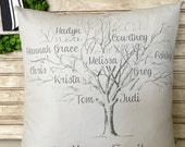 Family Tree | Family Name Sign | Mother's Day Gifts | Shabby Chic - Family Tree Pillow Personalized with Names and Est. Date Insert Included