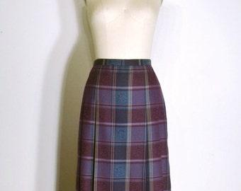 SUMMER HEAT SALE Vintage 1970s Skirt - 70s Pleated Skirt - Eggplant Purple