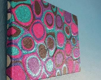 Abstract Glitter Picture, Pink, Purple, Blue, Turquoise and Black Painting Mixed Media Original Artwork