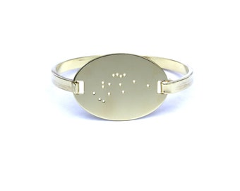 Aquarius High Polished Raw Brass Zodiac Constellation Oval Bracelet