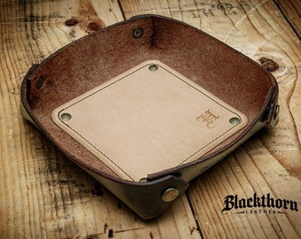 Leather Valet Tray, Leather Catch All, Custom Leather Tray