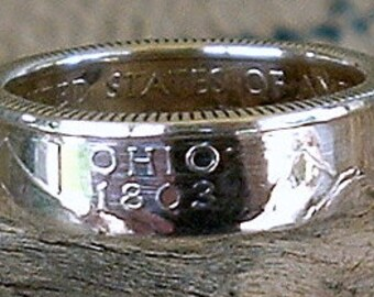 2002 Ohio State Quarter Coin Ring (90% Silver) (Available in sizes 4 through 9)