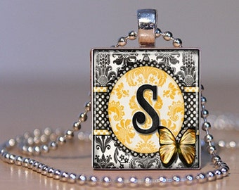 Letter S Monogram Pendant n Yellow and Black Damask made from an Upcycled Scrabble Tile  (170)