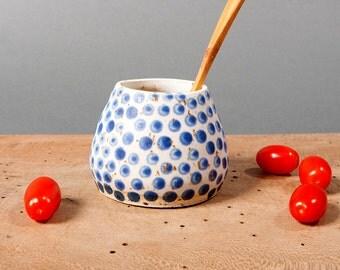 sugar bowl danish blue white dots unique vessel poterie ceramica dots handmade by pollipots studio pottery scandinavian