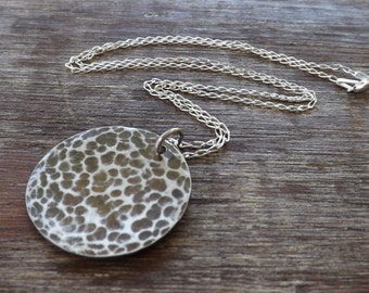 Textured Coin Necklace, Sterling Silver Oxidized Necklace, Textured Necklace on Etsy.