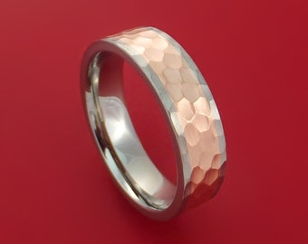Titanium Ring Classic Hammer Style with 14k Rose Gold Inlay Wedding Band Any Size and Finish 3-22