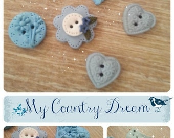 """handmade Buttons """"Flower in the sky"""" - polymer clay buttons"""