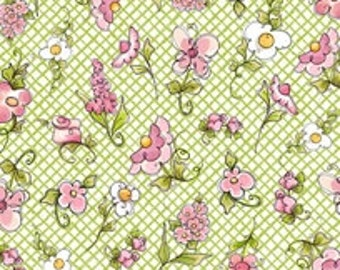 Loralie Designs Up And Away Light Green Small Flowers fabric - 1 yard