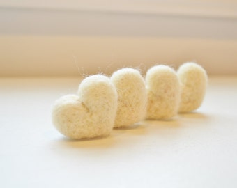 Rustic Ecru, Winter White Wool Needle Felted Heart Pebbles Valentine's Day Love 100% Natural Wool Rustic Favors