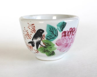 Vintage Asian Hand Painted Rustic Cermic Tea Cup with Bird and Flowers!
