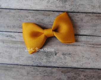 Mustard color Mini bow...solid color...small hair bow....fall