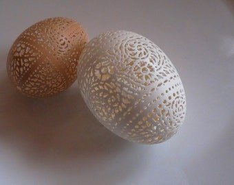Hand Carved Victorian Lace Egg Pair - White Duck, and Brown Chicken
