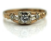 Antique Engagement Ring Art Deco Delicate Ring .19ctw 1940s Vintage Diamond Ring Delicate 14K Two Tone Gold Ring Dainty Diamond Ring!