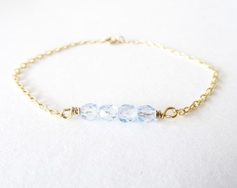 Color Bar | Light Blue Gold Filled Beaded Bar Bracelet