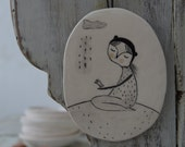 Cat and Little Birdy Under the Rain - Hanging Decor - Ceramics - Drawing - Clay Plate - Ready to Ship - reserved for Bambi Lyn