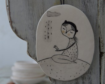 Cat and Little Birdy under the rain - hanging decor ceramic tile, drawing on a clay plate
