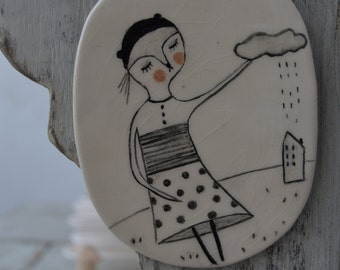 Can you stop the rain - hanging decor ceramic tile, drawing on a clay plate