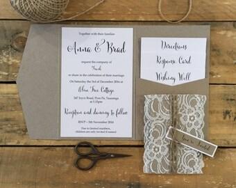 Wedding invitation Rustic Lace Pocketfold wedding invitation sample