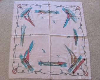 "1950s Vintage Retro Pink Gold Painted Sailboat Souvenir Scarf // 28"" Inch 71cm Square - Unused NOS"