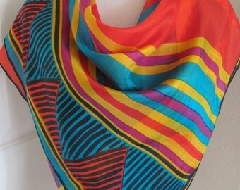 "Beautiful Colorful Soft Silk Scarf  // 32"" Inch 81cm Square"