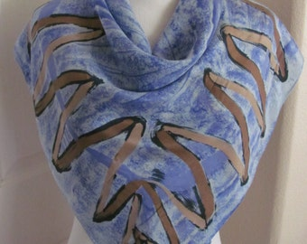 "Lovely Blue Brown Abstract Soft Silk Scarf  // 32"" Inch 82cm Square"