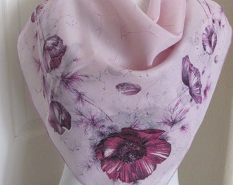 "Beautiful Vintage Pale Lavender Soft Silk Blend Scarf  // 32"" Inch 81cm Square"