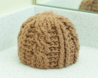 Newborn Cable Knit Beanie Tan Red Baby Hat RTS