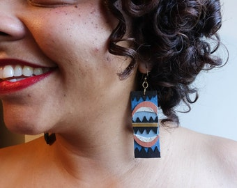 Hand cut abstract x geometric x blue and coral polyurethane  earrings