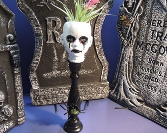 Creepy little porcelain doll head planter with stand and air plant. Halloween decor.