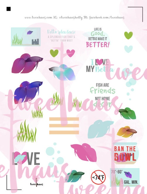 Betta fish care printable sticker set for hourly erin for Betta fish care sheet