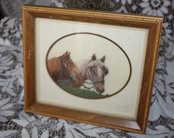 Antique Petit Point Framed Needlework Picture Horse Heads